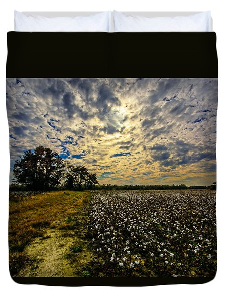 A Cotton Field In November Duvet Cover by John Harding