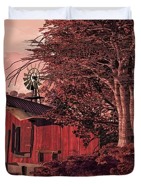 A Country Scene With Old Horse Barn And Windmill. Duvet Cover