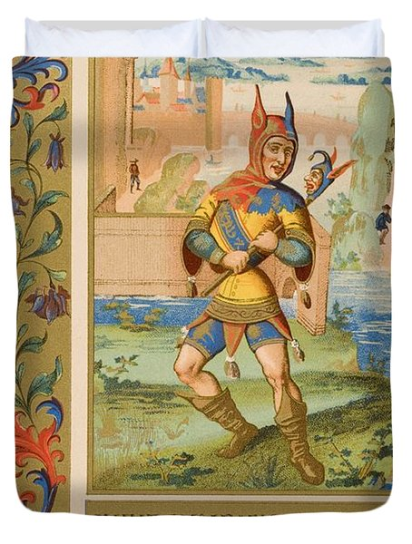 A Court Fool Of The 15th Century. 19th Duvet Cover