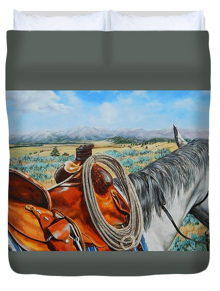 A Cowboy's View Duvet Cover