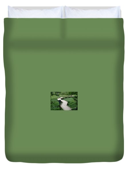 Duvet Cover featuring the painting A Crooked Path by Rod Jellison