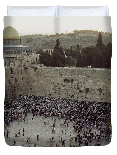A Crowd Gathers Before The Wailing Wall Duvet Cover by James L. Stanfield