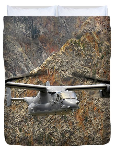 A Cv-22 Osprey Flies Over The Canyons Duvet Cover by Stocktrek Images
