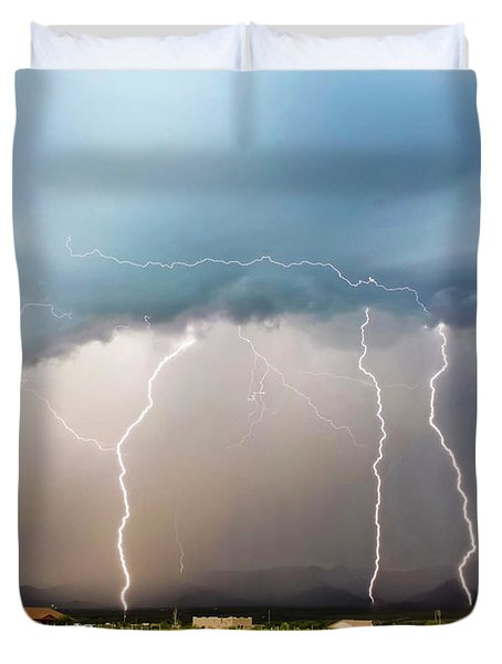 Four Lightning Bolts In The Mountains, Palominas, Arizona Duvet Cover