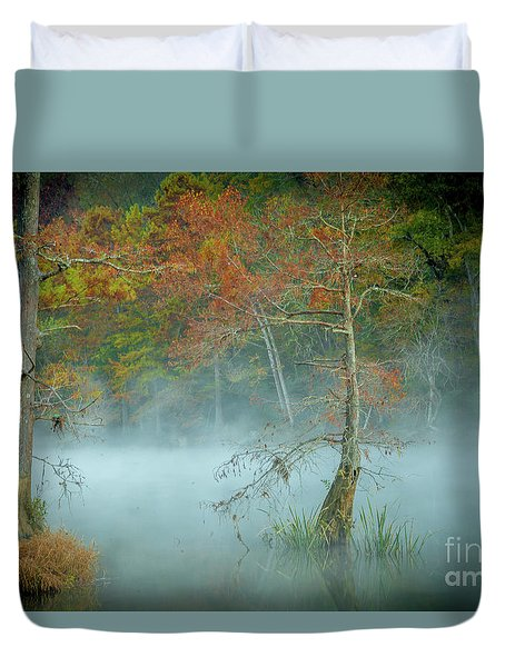 A Dancing Cypress Duvet Cover by Iris Greenwell