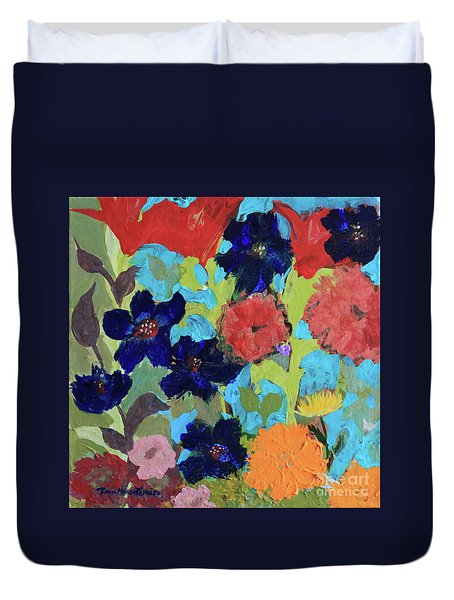Duvet Cover featuring the painting A Dandelion Weed Making It's Way In The Garden by Robin Maria Pedrero