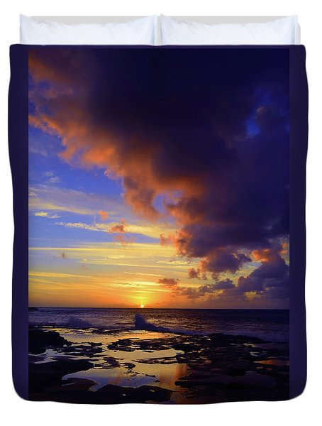Duvet Cover featuring the photograph A Dark Cloud Among Colour by Tara Turner