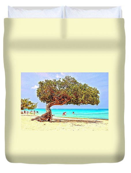 Duvet Cover featuring the photograph A Day At Eagle Beach by DJ Florek