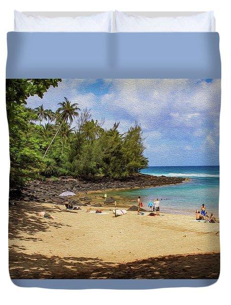 A Day At Ke'e Beach Duvet Cover