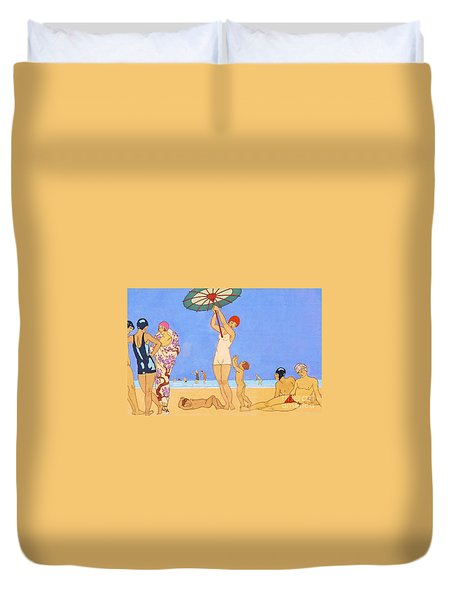 A Day At The Beach, 1923 Duvet Cover