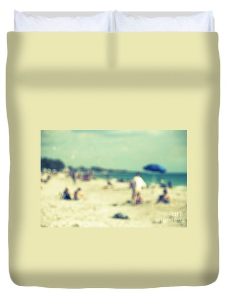 Duvet Cover featuring the photograph a day at the beach I by Hannes Cmarits