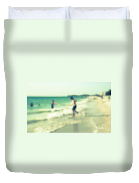 Duvet Cover featuring the photograph a day at the beach III by Hannes Cmarits