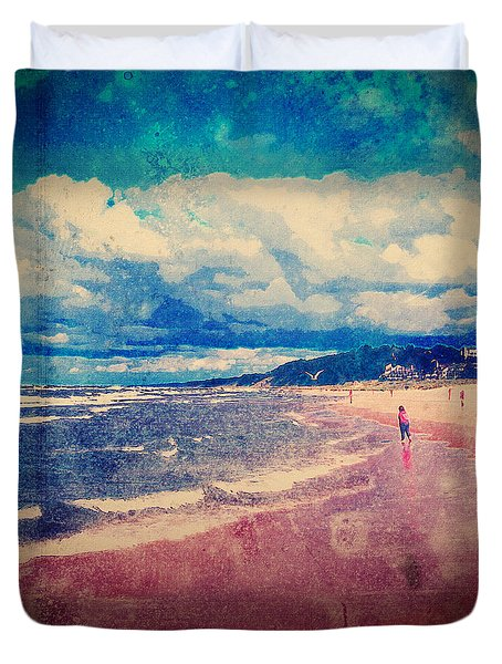 Duvet Cover featuring the photograph A Day At The Beach by Phil Perkins