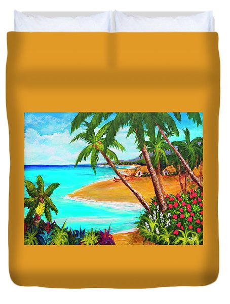A Day In Paradise Hawaii #359 Duvet Cover by Donald k Hall