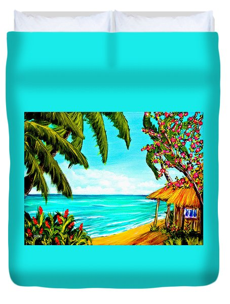 A Day In Paradise Hawaii Beach Shack  #360 Duvet Cover by Donald k Hall