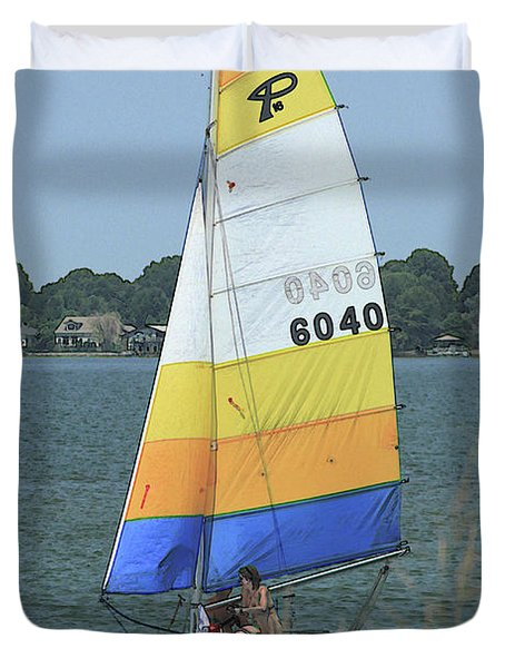 A Day To Sail Duvet Cover by Karol  Livote