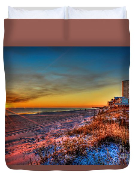 A December Beach Sunset Duvet Cover