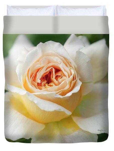 A Delicate Rose In Peach Duvet Cover