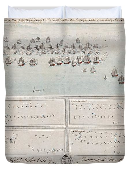 A Description Of The Naval Battle At The Island Of Oland In The Baltic Sea Duvet Cover