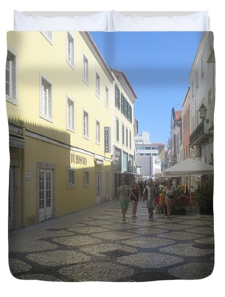 A Detail From A Street In The Historical Centre Of Cascais Near Lisbon Duvet Cover