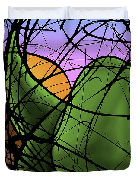 A Dinomite Sunset Duvet Cover