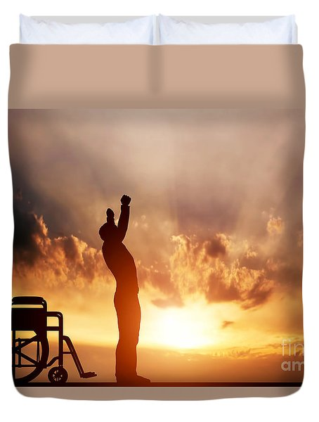A Disabled Man Standing Up From Wheelchair Duvet Cover