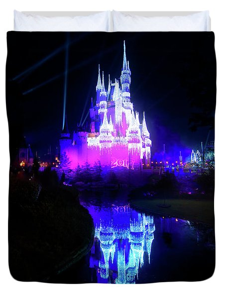 Duvet Cover featuring the photograph A Disney New Year by Mark Andrew Thomas