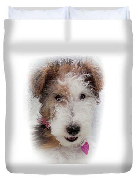 Duvet Cover featuring the photograph A Dog Named Butterfly by Karen Wiles