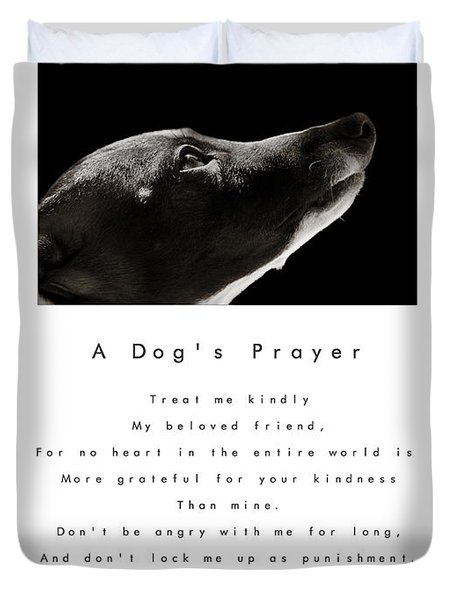 A Dog's Prayer In White  A Popular Inspirational Portrait And Poem Featuring An Italian Greyhound Duvet Cover