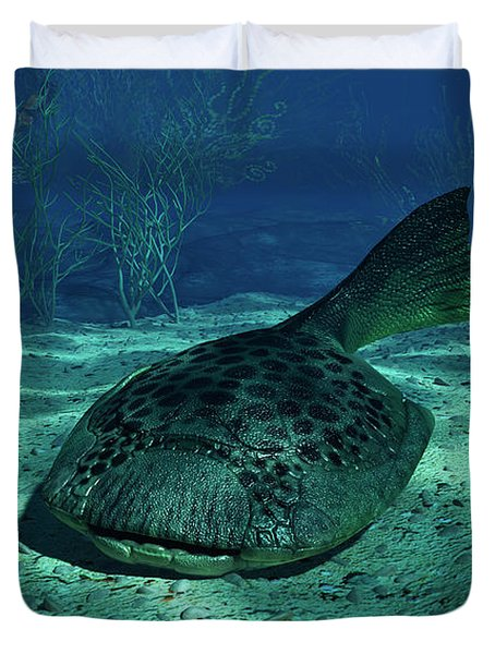 A Drepanaspis On The Bottom Duvet Cover by Walter Myers
