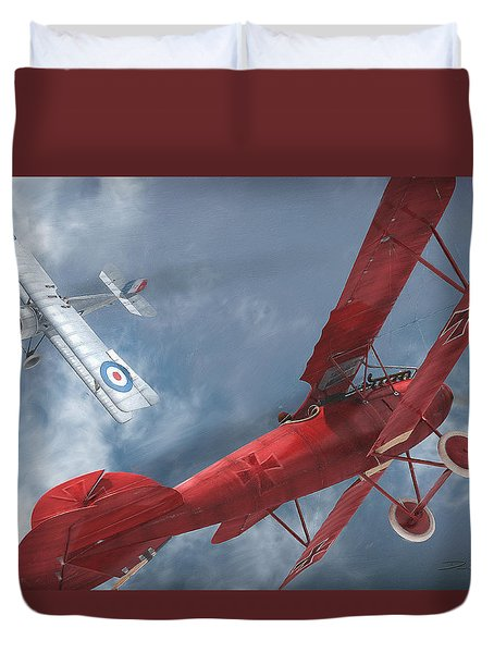 A Duel Begins - The Red Baron Duvet Cover by David Collins