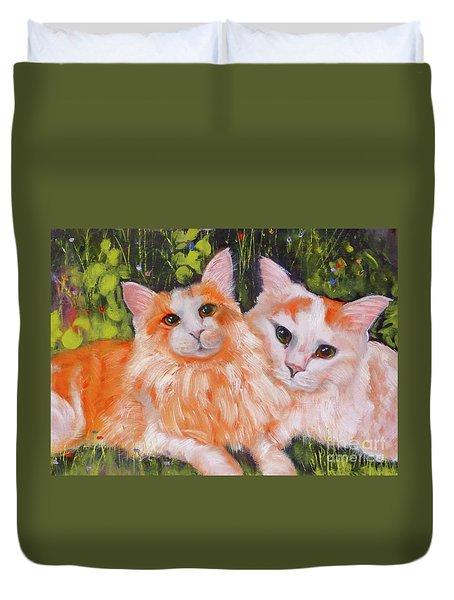 A Duet Of Kittens Duvet Cover