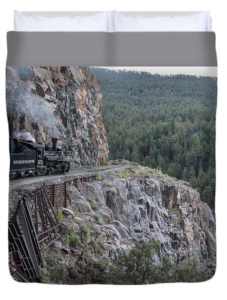 Duvet Cover featuring the photograph A Durango And Silverton Narrow Gauge Scenic Railroad Train Along A San Juan Mountains Precipice by Carol M Highsmith