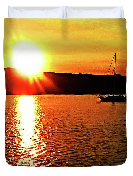 A Early Springtime Visit To Mystic Village In M Duvet Cover