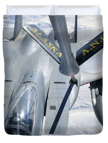 A F-15 Eagle Refuels Behind A Kc-135 Duvet Cover by Stocktrek Images