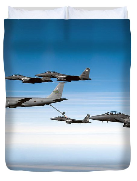 A F-15e Strike Eagle Is Refueled Duvet Cover by Stocktrek Images