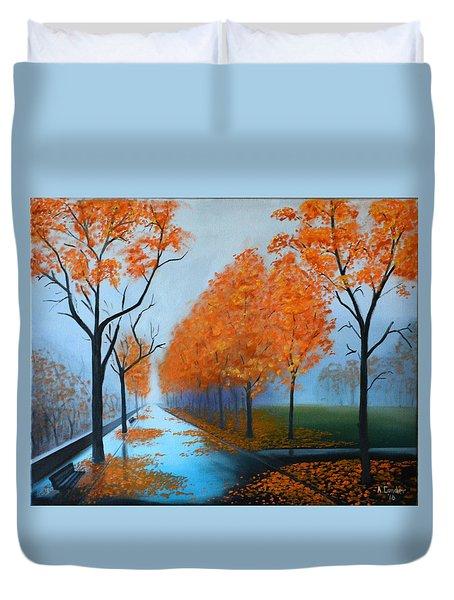 A Fall Morning Duvet Cover