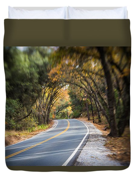 A Fall Roadway Duvet Cover