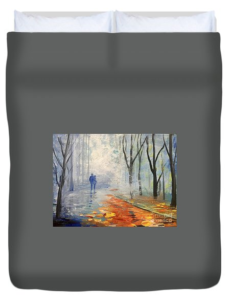 Duvet Cover featuring the painting A Fall Walk by Trilby Cole
