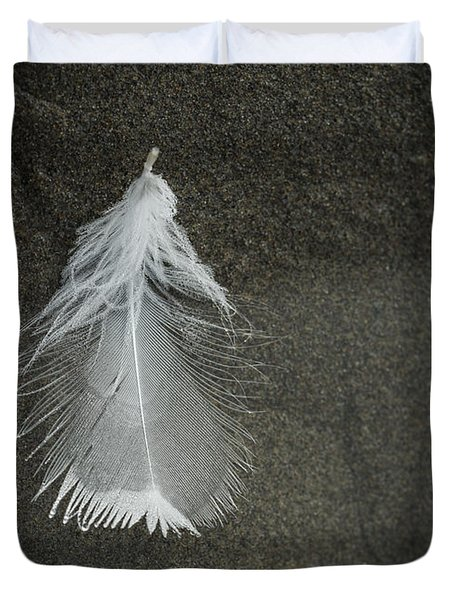 A Feather At The Edge Of The Water Duvet Cover