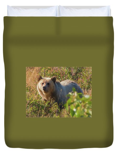 A  Female Grizzly Bear Looking Alertly At The Camera. Duvet Cover