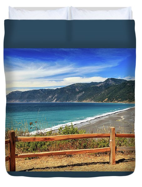Duvet Cover featuring the photograph A Fence On The Lost Coast by James Eddy