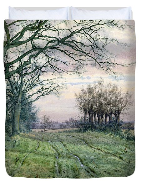 A Fenland Lane With Pollarded Willows Duvet Cover by William Fraser Garden