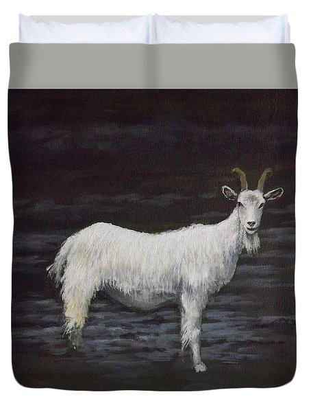 A Feral Goat On The Burren Duvet Cover by Sean Conlon