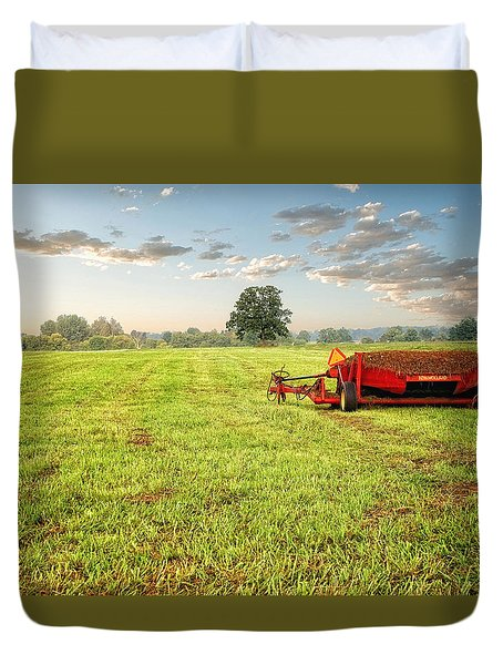 Duvet Cover featuring the photograph A Field At Sunrise by Lars Lentz