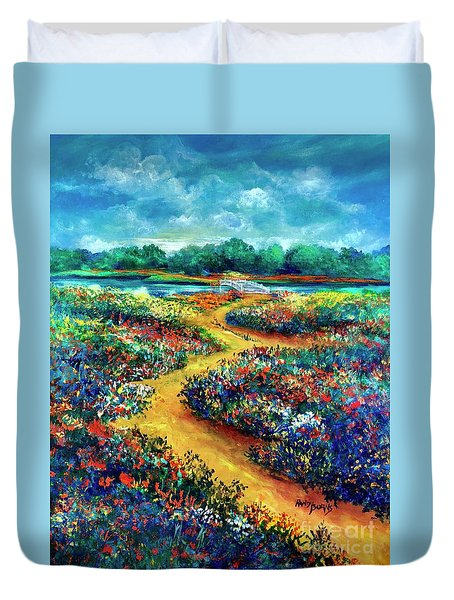 A Field Of Flowers And The Bridge Beyond Duvet Cover