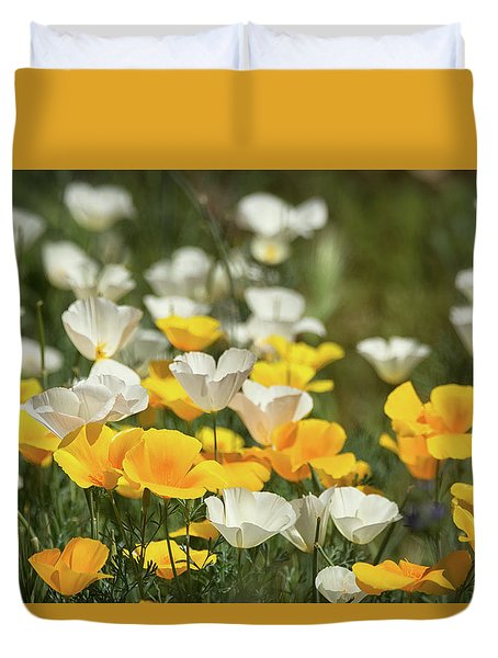 Duvet Cover featuring the photograph A Field Of Golden And White Poppies  by Saija Lehtonen