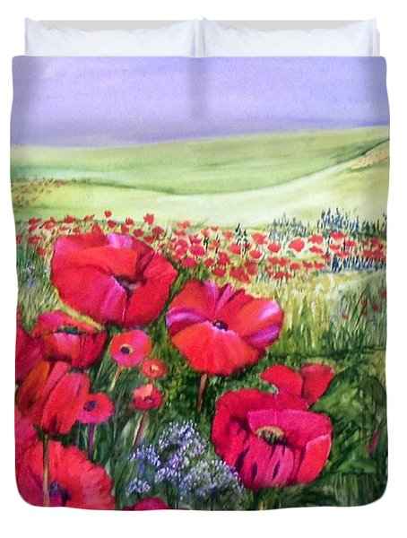 A Field Of Poppies Duvet Cover