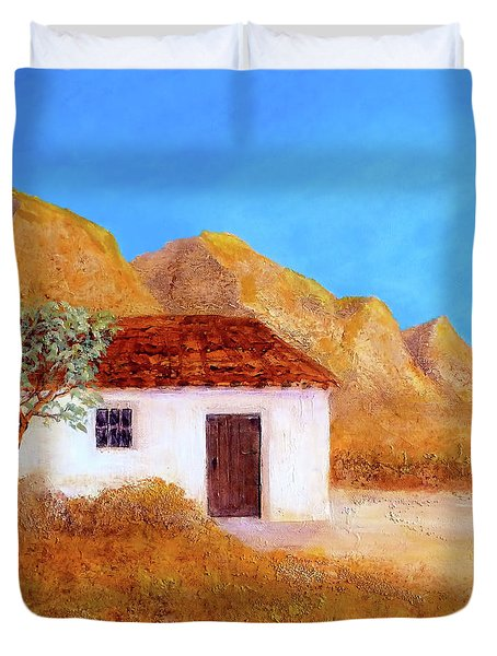 Duvet Cover featuring the painting A Finca In Spain by Valerie Anne Kelly