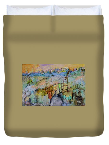 A Fine Day For Sailing Duvet Cover by Sharon Furner